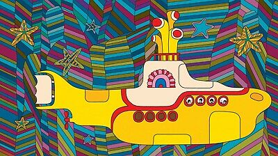 The Beatles Yellow Submarine Colorful Background 24 X 24