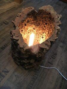 design lampe holz unikat rinde stehlampe tischlampe natur 45cm leuchte holzlampe ebay. Black Bedroom Furniture Sets. Home Design Ideas