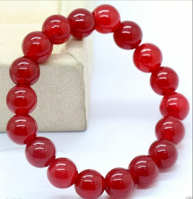 Charming 10mm Natural Red Jade Round Beads Bracelet Bangle 7 5