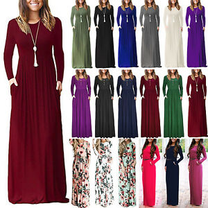 Womens-Long-Sleeve-Jersey-Maxi-Dress-Evening-Party-Holiday-Casual-Swing-Dresses