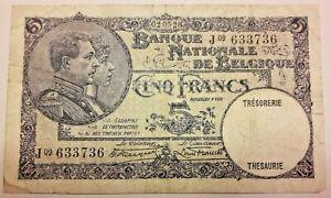 "5 FRANCS ""KING ALBERT AND QUEEN ELIZABETH"" Belgique 5 Frank Belgïe"