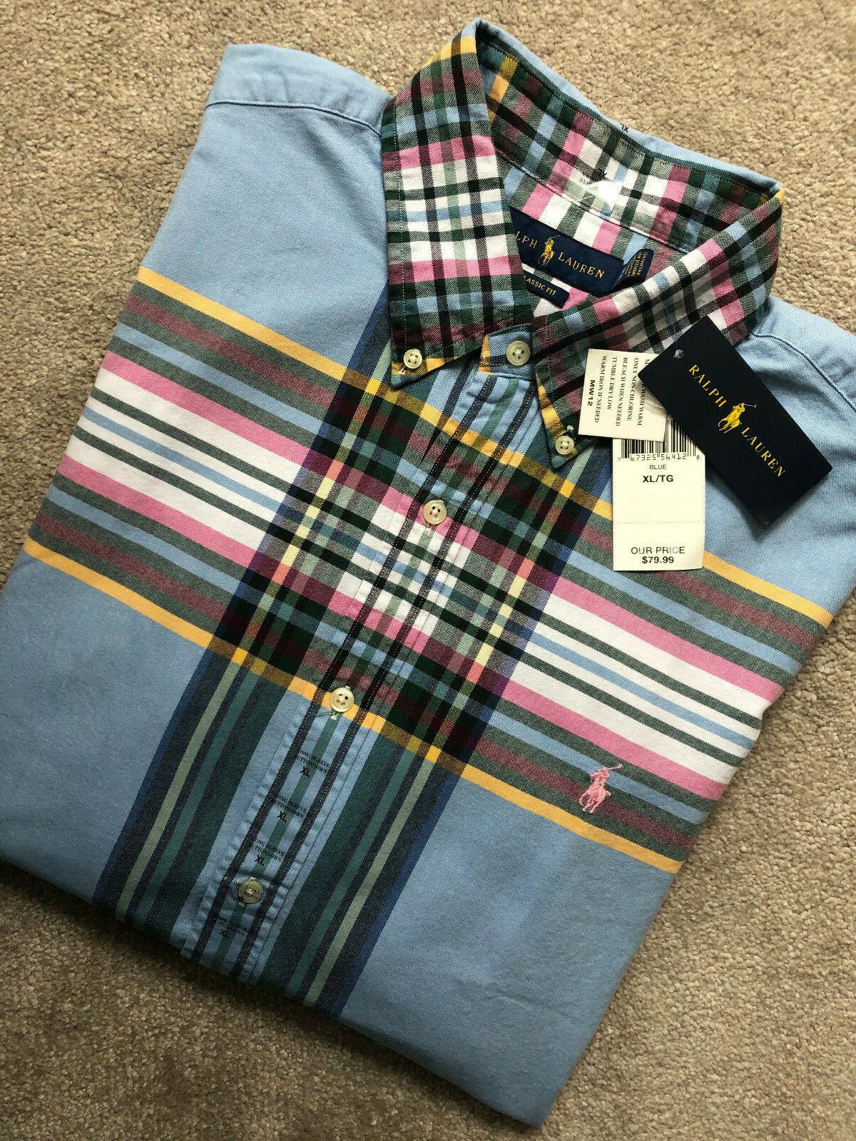 RALPH LAUREN bleu Classic Fit Check L S Shirt Top USA Model-XL-NEUF & étiquettes