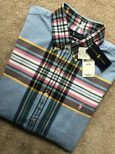 Ralph-Lauren-Blue-Classic-Fit-cheque-L-S-Shirt-Top-Usa-Modelo-XL-Nuevo-Y-Etiquetas