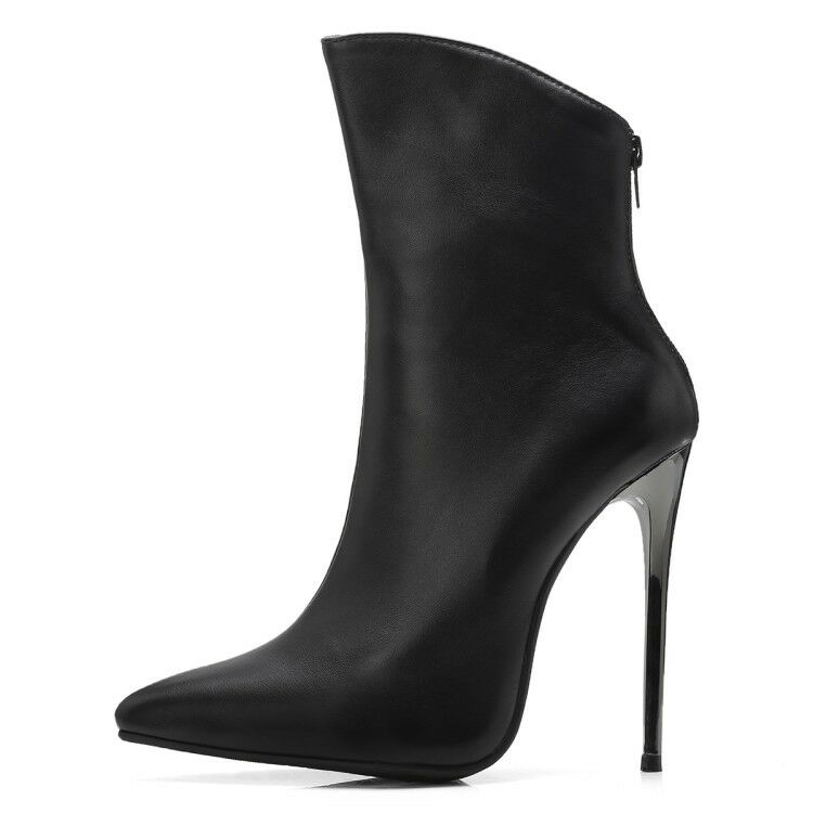 Ladies Club Shoes Synthetic Leather High Heels Zip Back Ankle Boots US Size b021