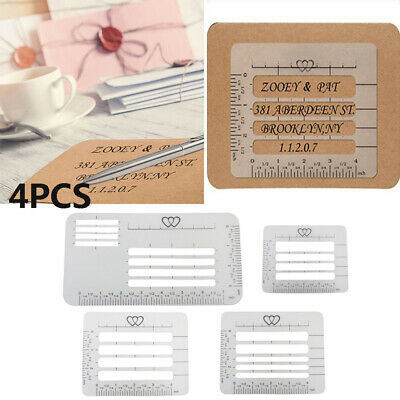 Nice 4Pcs 4 Style Envelope Addressing Guide Stencil Templates Rulers Wide Range~
