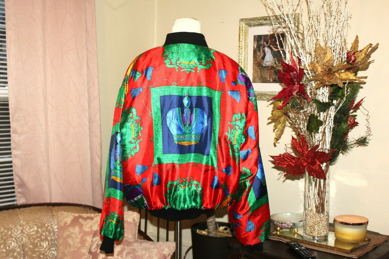 VINTAGE 1980's RED GREEN HOLIDAY SILK PUFF SLEEVE… - image 4