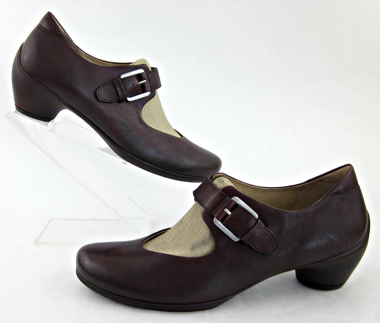 New! ECCO Mary Jane Low Heel Shoes Merlot Leather EU 42 / US 11-11.5