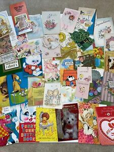 Vintage-Greeting-Cards-Lot-1950s-And-Up-35-Cards-Ephemera-Mixed-Lot-E