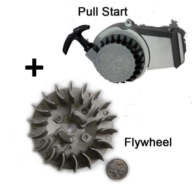 ALLOY PULL START STARTER + Flywheel for MINI DIRT ATV QUAD DS 50CC 49CC 2 STROKE