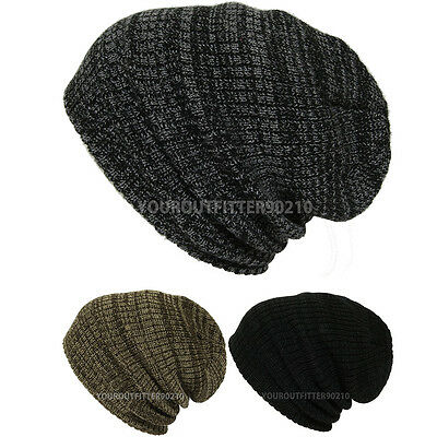 Mens Womens Crochet Knit Winter Heavy Camping Baggy Beanie Slouch Ski Cap New
