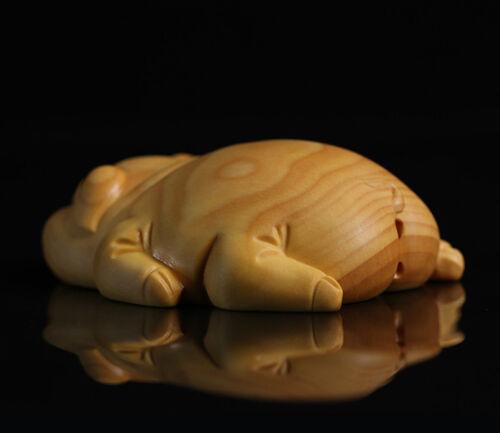 6x5x2 CM Carved Boxwood Carving Fugurine Netsuke JP139ca Zodiac Pig