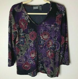 Chico's Additions Women's Top Size 1 (Medium, 8) V-Neck 3/4 Sleeves Floral