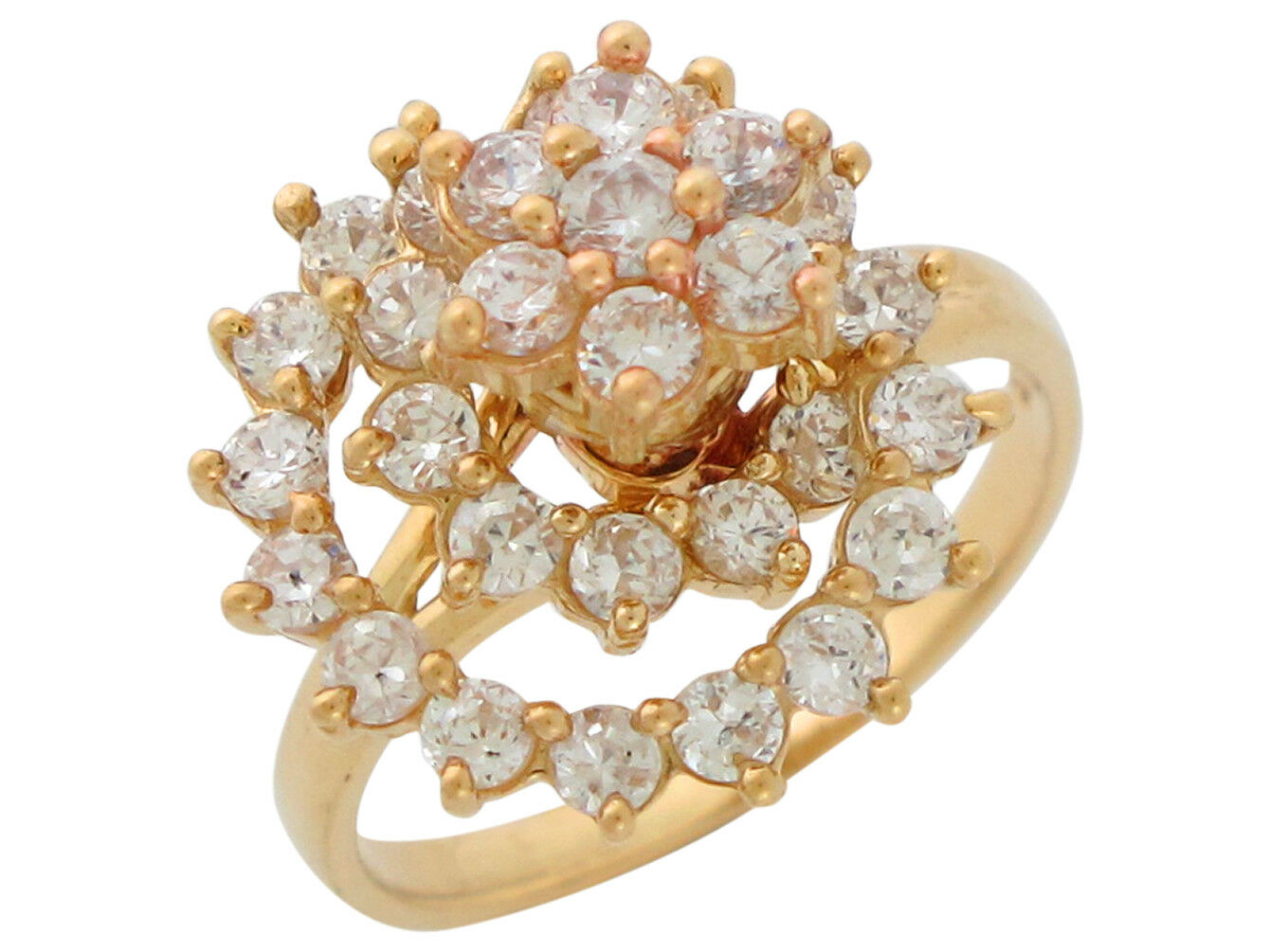10k or 14k Yellow gold Moving Motion Spinning White CZ Accented Ladies Ring