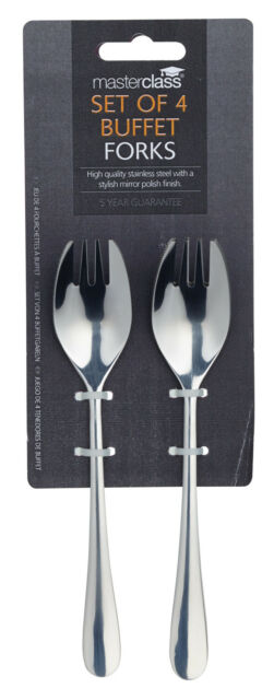 Masterclass Solid Polished Stainless Steel Set of 4 Buffet Forks / Spoons Sporks