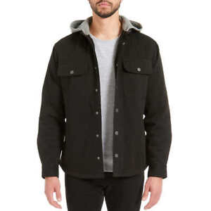 Jachs-Men-039-s-Sherpa-Lined-Canvas-Shirt-Black-Jacket