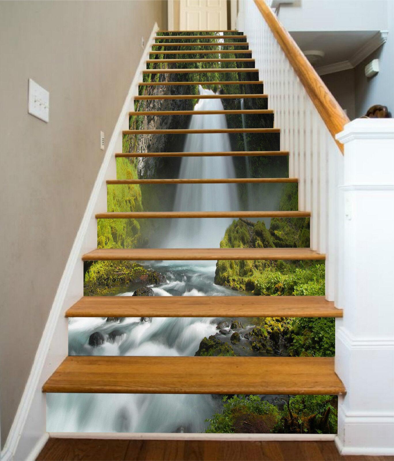 3D Wasserfall Bach 1Stair Risers Dekoration Fototapete Vinyl Aufkleber Tapete DE