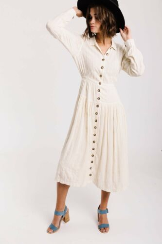 $198 Free People Diamond Head Embroidered Maxi Dress Raw Linen Ivory Boho M NWT