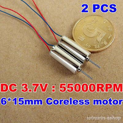 2PCS 6mm*12mm DC3.7V 60000RPM Ultrahigh High Speed Micro Mini Coreless Motor Toy