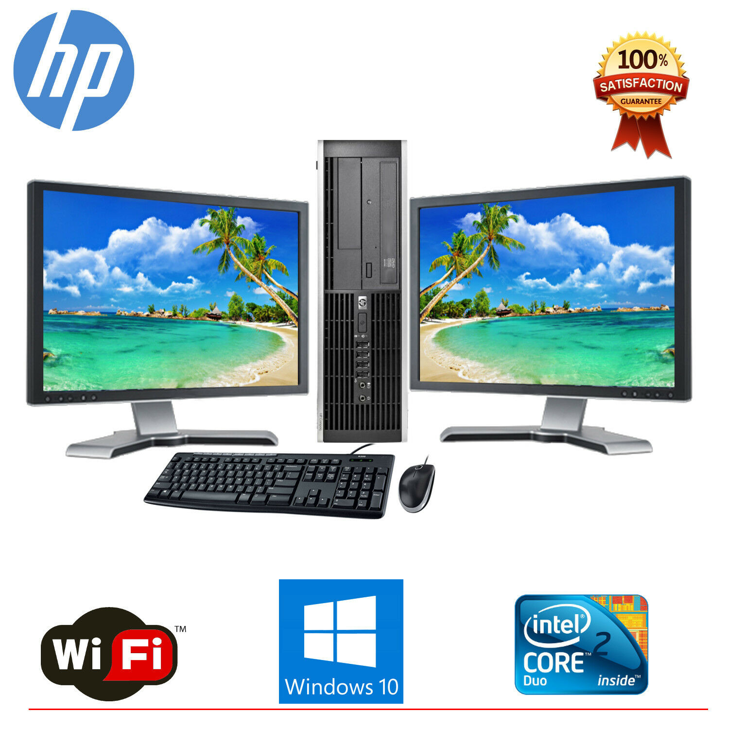 hp desktop pc computer core 2 duo 4gb ram dual 19 lcd monitor wifi windows 10 ebay. Black Bedroom Furniture Sets. Home Design Ideas
