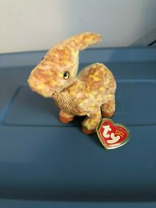 RETIRED 2002 TY BEANIE BABIES TOOTER THE DINOSAUR WITH PE PELLETS