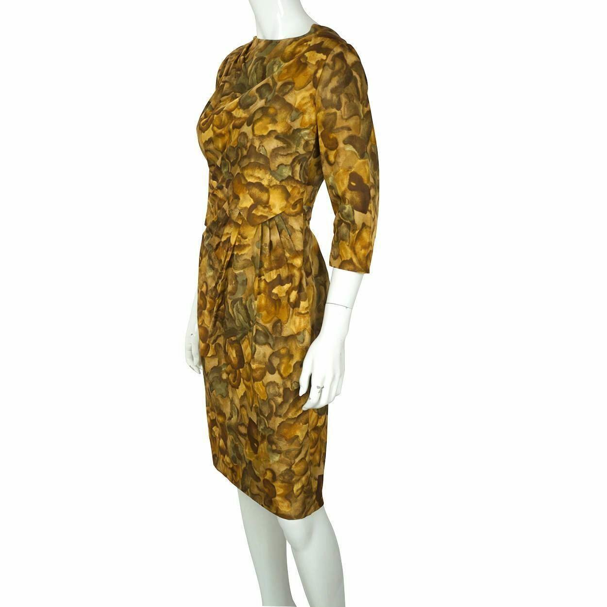 Vintage Ceil Chapman Wiggle Dress Abstract Leaf P… - image 2