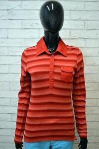 Polo-Maglia-a-Righe-Donna-TOMMY-HILFIGER-Taglia-M-Manica-Lunga-Shirt-Woman
