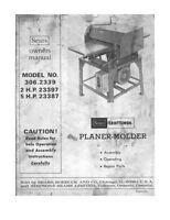 Craftsman 306.2339 Planer-molder Instructions