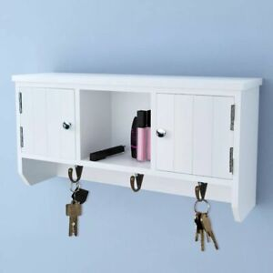 Wall-Cabinet-for-Keys-and-Jewelry-with-Doors-and-Hooks-Shelf-Display-Storage