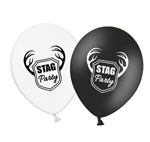 Stag-Party-12-034-Printed-Black-amp-White-Assorted-Latex-Balloons-pack-of-8
