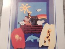 """Noah's Ark Applique Quilt Quilted Wall hanging 36"""" by 50"""" Dolphin Polar Bear"""