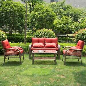 Image Is Loading Rattan Patio Furniture Set Outdoor Indoor Rocking Hammock