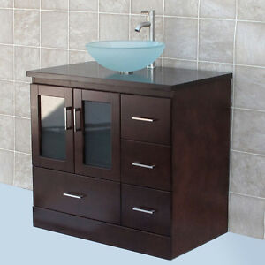 36 Quot Bathroom Vanity Cabinet Wood Vessel Sink Faucet Mgs Ebay