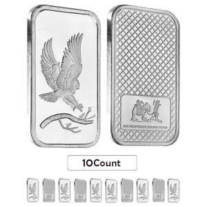 Lot-of-10-1-oz-Eagle-Silver-Bar-999-Silver-Random-Design-Sealed