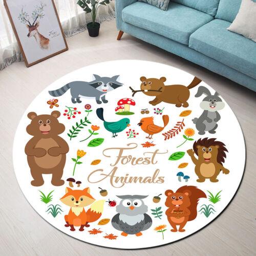 Cute Forest Animals Kids Carpet Memory Foam Decor Area Rugs Room Floor Round Mat