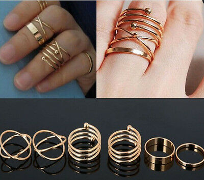 6PCS/Set Fashion Women Lady Ring Jewelry Gold Plated Finger Tip Stacking Rings