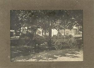 STREET-SCENE-MAN-BOY-RIDING-HORSE-DRAWN-CARRIGAE-WITH-BARRELS-VINTAGE-PHOTO