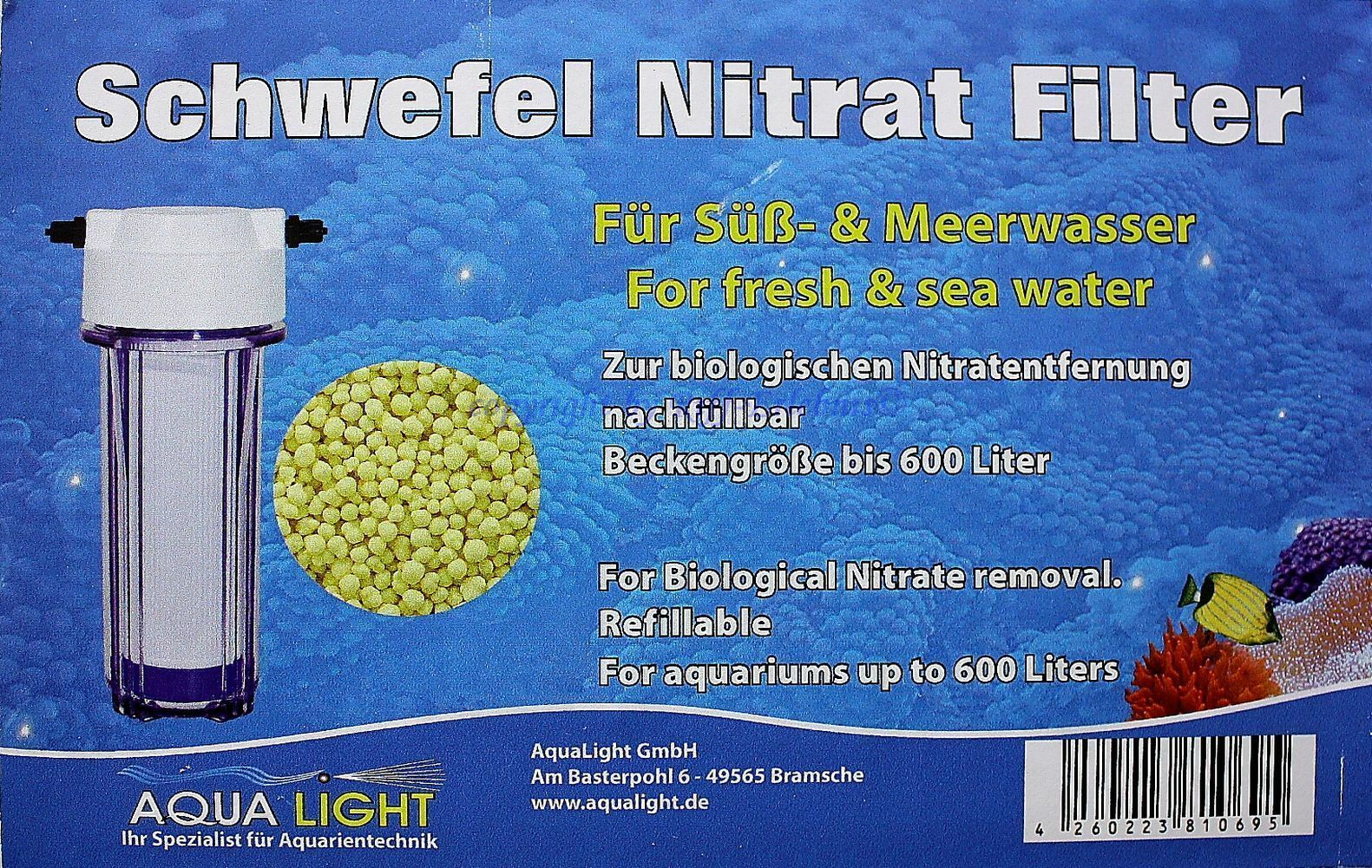Aqua Light Sulphur Nitrate Filter for Sweet and Saltwater up to 600L