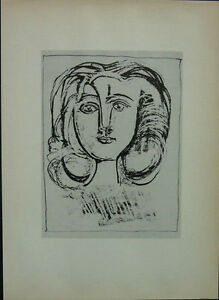 Picasso-1947-Girl-039-s-Head-from-034-49-Lithographs-034-Lear-New-York-Mounted