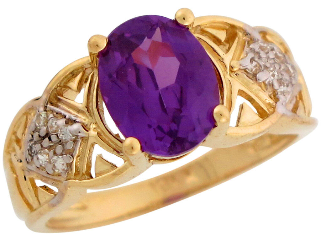 10k or 14k Two Tone gold Simulated Alexandrite & CZ June Birthstone Ladies Ring