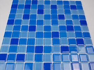 Das Bild Wird Geladen Glasmosaik Mosaik Klarglas Blau Dunkelblau  Dusche Pool Kueche