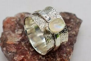 Moonstone-Solid-925-Sterling-Silver-Spinner-Ring-Meditation-statement-Ring-RR308