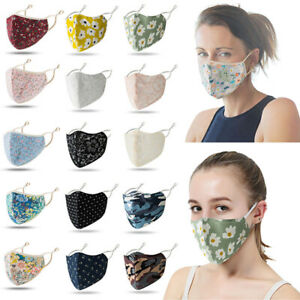 Fashion Floral Face Mask Adjustable Mouth Mask Double Layered Washable Reusable