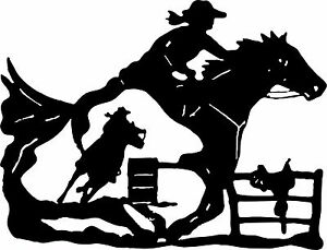Cowgirl Barrel Racer Horse Saddle Rodeo Racing Window Vinyl Decal - Barrel racing custom vinyl decals for trucks