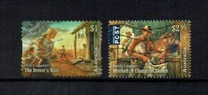 AUSTRALIA-DECIMAL-2017-HENRY-LAWSON-1-INTERNATIONAL-POST-2-STAMPS
