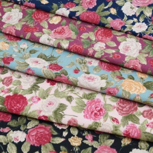 Pink Roses Blooming Floral Flowers 100/% Cotton Poplin Fabric