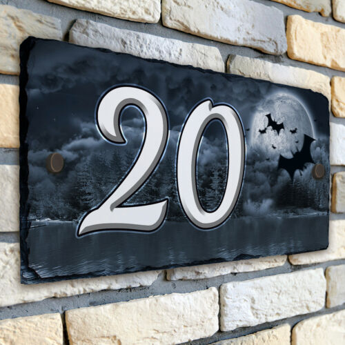 Gothic Style House Number Slate Name Sign Plaque Door Personalised Gift SL81