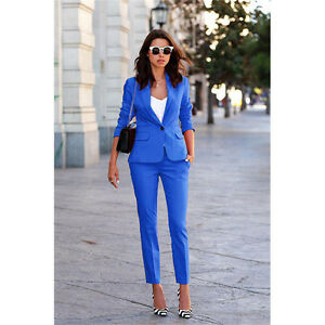 Royal Blue Designer Womens Suits 2 Piece Formal Ladies Business Suit