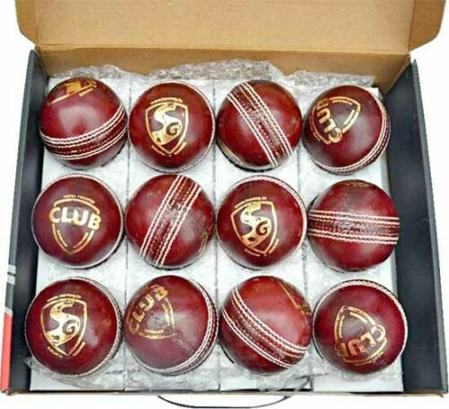 Red SG CLUB Leather Cricket Ball Pack of 2