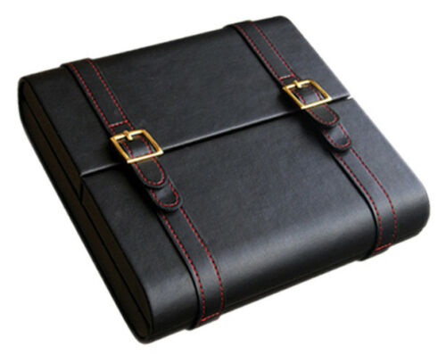 Black Leather 20 Cigar Travel Humidor With Stick Humidifier