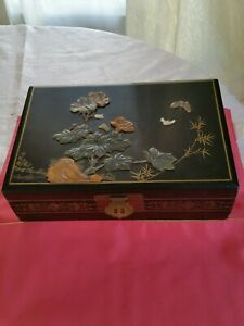 Antique-Chinese-Japanese-Lacquerwaer-jewelry-box-with-green-big-size-rare